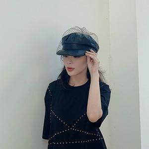 VRIGINER affascinante in pelle Black Hat francese elegante Beret Con Velo Mesh Visualizza doppio strato Donne Berretti Cap Beret