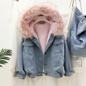 Gizmosy 2020 Big Faux Fur Collar Denim Jacket Women Winter Hooded Warm Jean Jacket Student Basic Short Parkas Female Bomber Coat LJ200929
