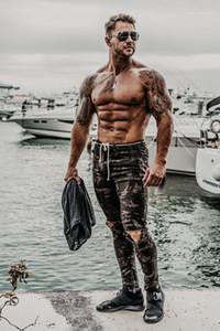 Camouflage Impresso Mid cintura Skinny Mens Calças Lápis Distrressed Moda Casual Masculino Vestuário Novos dos homens do desenhista Buracos Jeans
