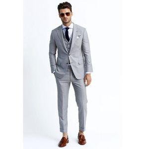 2020 New Custom Made Light Gray Mens Suit Wedding Groom Formal men Suit Groom Tuxedos Groomsman Suits Formal Party Business