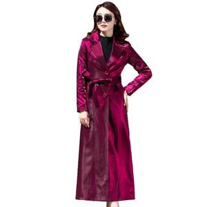 Brand windbreaker female spring new windbreaker coats Women's long lapel popular plus size super long coat Slim was thin