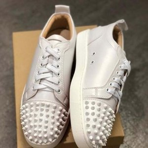 Hot Fashion Designer Red Bottom Shoes Junior Studded Spikes Sneakers Mens Real Leather Trainers Party Shoes Casual Shoe Leather Sneakers KU3