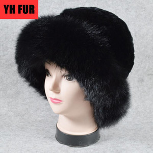 New Style Winter Warm Real Fur Hats Women Bucket Hat Solid Elastic Rex Fur Caps Hot Sale Party Fashion Hat Beanie