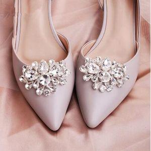 Classic Women Shoe Buckle Big Water Drop Austrian Crystal Bridal Shoe Accessories Jewelry Wedding Shoe Clips for Bride