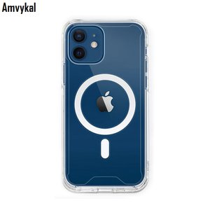 Clear Shockproof Magnetic Case For iPhone 12 mini 12pro Max MagSafe Charger Cases Transparent Soft TPU Phone Cover Coque