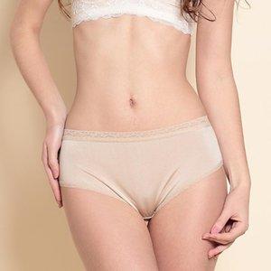 100% Silk Mid-Waist Underwear Women's Lace Side Briefs Simple Seamless Silk Thin Breathable Underwear Women Lingerie 2215