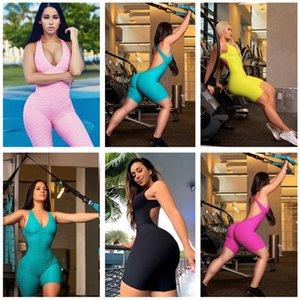 2020 Sıcak Yoga Kadınlar Seksi Kolsuz Romper için Şort Tulumlar Tek Parça Seksi Backless Genel Casual Spor Bodysuits Giyim F92804