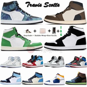 Nike Air Jordan Retro 1 Yüksek Travis Scotts Düşük Erkek Basketbol Ayakkabı 1s UNC Bred Spor Sneakers ile Kutusu Shattered offs white Designer Trainers Chaussures Stock x Stockx