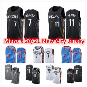 Men's 2021 New Kevin 7 Durant Kyrie # 11 Jersey Irving Bklyn Caris22 Levert 72 Biggie Small Spencer City Black Edition Basketball Jerseys