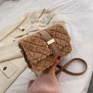 Bag Furry Lattice Women Sqaure Handbags Quilted Plush Crosbody Belt-Lock Simple Design Diamond Fashion Bags Chain Purse Lkkkt