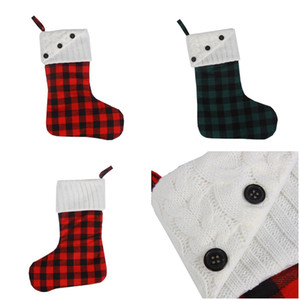 Weihnachtsstrumpfknopf Plaid Canvas Ornamente Rot Weiß Schwarz Weihnachten Hanging Stocking Weihnachtsgitter Socken Party Dekoration Owe3050
