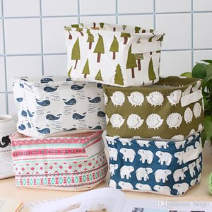 House Tools Cartoon Cotton Linen with Handle Desktop Debris Basket Clothing Fabric Storage Small Basket Folding Delicate Cute Box DH0588 T03