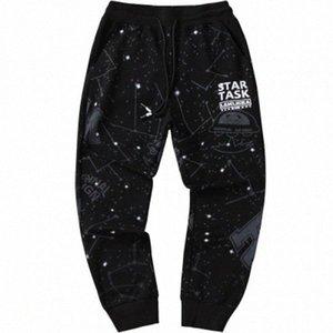Les hommes occasionnels Starry Sky Pants desserrées des sports d'été Pantalons longues saisons Mode Pancil Pantalons Homme Imprimer Vêtements uZUT #