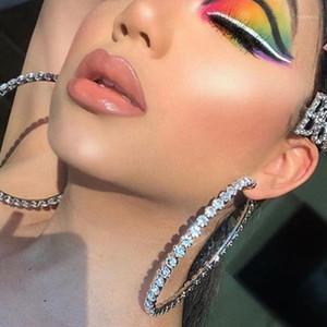 Hoop Huggie Big Black Orecchini per le donne Crystal Round Dangle Super grandi gioielli strass perla Hyperbole AB Color Bijoux Simple1