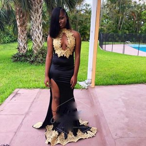 Sexy Party Long Prom Dresses For Black Girls High Neck Gold Lace Appliques Keyhole Front Mermaid Met Gala Eevening Dresses