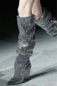 2020 New Fashion Women Bling Bling Pointed Toe Rhinestone Spike Over Knee Boots Crystal Long High Heel Boots Dress Shoes