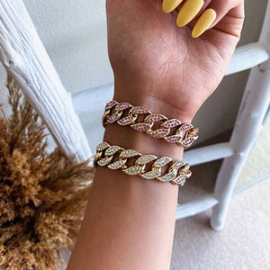 Rhinestone Cuban Chain Bracelet For Women Iced Out Link Chain Bracelets Trendy Luxury Crystal wristband Bling Jewelry Gift