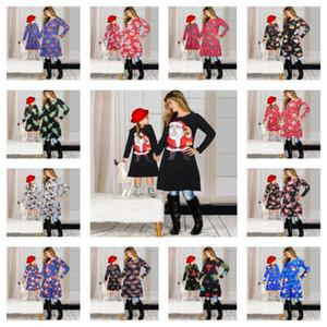 드레스 산타 클로스 치마 크리스마스 인쇄 부모 - 자식 드레스 의상 E101901 일치 크리스마스 가족 매칭 의류 정장 어머니 딸