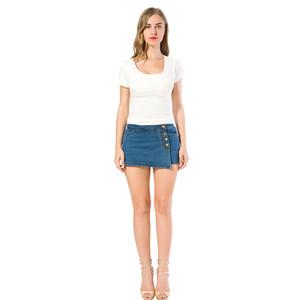 Taille Denim Shorts für Frauen Sommer Skorts Röcke Slim Blue Jeans Vintage Kurzer Skort Damen Hohe Qualität Verkauf Y200822
