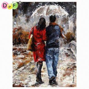 DPF Peinture à l'huile par numéros sans cadre peinture sur toile mur Photos ARTISANAUX Salon Wall Art Accueil Décor pluie aime Ukqf #