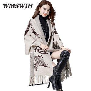 Knit Cardigan Mulheres Moda de Wmswjh 2019 Primavera Outono Nova Versão Coreana Mediana longa borla Manto Sweater Brasão Xaile