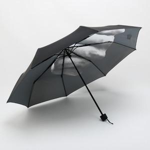 Dedo medio paraguas de la lluvia a prueba de viento encima el su paraguas plegable Sombrilla creativas Moda Impacto Negro Paraguas plegable Paraguas FWA1614