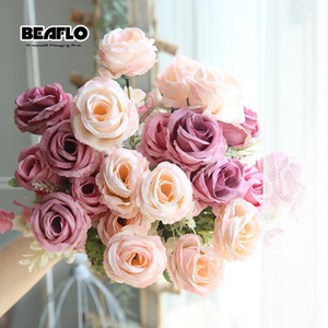 الزخرفية الزهور أكاليل 1 باقة 6 رؤساء الأوروبي الاصطناعي روز الورود وهمية الحرير الزفاف الأزهار ل diy المنزل حديقة الزفاف الديكور