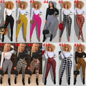 Designer Designer Designer Due pezzi Set Slim Sexy Fit Leopard Camouflage Pantaloni Plaid Pantaloni a maniche lunghe Top e Sling Tuta Tute Nightclub