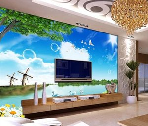 3d Wallpaper Spring Green Tree Love Swan Lake Landscape Decoration Interior Wall Customized Practical 3D Wallpaper