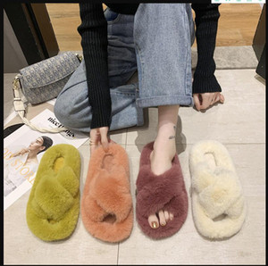 2020 New arrival girls fashion indoor fur slippers women casual soft flat shoes fur slides orange red designers slippers size 35-40 #P58