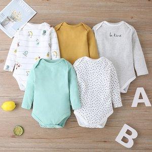 5 animales de impresión de dibujos animados para niños pequeños pedazos Body Nueva chica bebes recién nacido algodón de manga larga Onesie bebé ropa de invierno 024M