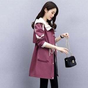 JUNSRM coupe-vent à mi-longueur Femmes 2020 printemps Nouvelle-coréen Casual manteau à capuchon taille