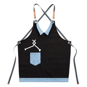 HOT SALE Cotton Cook Apron Barista Bartender Chef Hairdressing Apron Catering Uniform Work Wear Anti-Dirty Overalls(Blue+Lack)