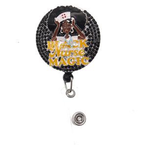 Hôpital médical Strass Badge Bobine Noir Nurse Life rétractable pour accessoires de bureau Badge ID BOBRE