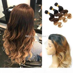 Ombre la onda del cuerpo de Brasil con el pelo Cierre frontal del cordón 360 1B 4 27 Tres Tonos ombre 360 Banda de encaje frontal con haces de pelo