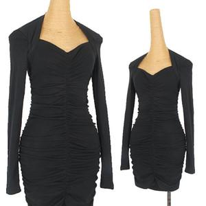 New Latin Dance Dress Female Adult Sexy Pleated Wrap Hip Long Sleeved Latin Practice Wear Ballroom Tango Samba Costume DNV13976