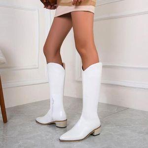 Сапоги женские колена высокий плюс размер середины каблуки заостренные носки обувь женщина осень теплый ботинок Chaussures Femme Zapatos mujer sapato d2346