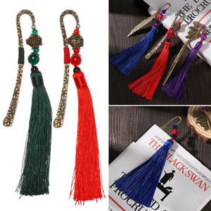 New Retro Chinese Style Metal Tassels Bookmark Handmade Weave Long Tassel Beads Traditional Book Mark Office Student Stationery1