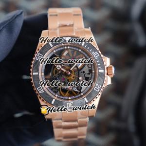 R Refit Edition Andrea Pirlo Projet Fibre de carbone Bezel Squelette Skeleton Miyota Automatique 116610 Montre Mens Montre Bracelet en or Rose HWRX Montres