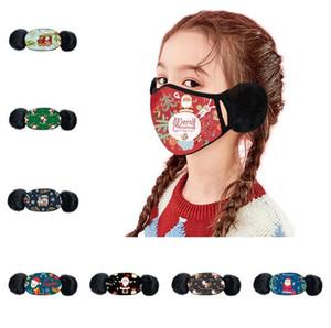 Máscaras de Navidad para niños de impresión caliente del invierno de la felpa de la mascarilla de la historieta de la muchacha del bebé de mascarillas Boca-mufla a prueba de viento orejera del calentador del oído E101402