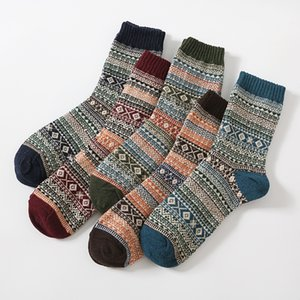 New Winter Thick Keep Warm Lattice Wool Socks Casual Hombre Sock Male Retro Ethnic Style Socks