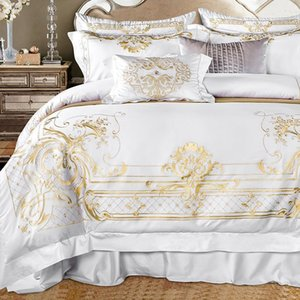 Queen Super King size Bedding set White Egyptian Cotton Gold Embroidery Duvet cover Bed sheet Fitted sheet parrure de lit ropa 1012