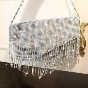 Female tassel Diamond Handbag Vintage Crystal Design Evening Bag Wedding Party Bride Clutch Bag Purse rhinestone shoulder bags