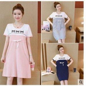 Frauen Mutterschaft Short Sleeve Lieferung Nursing Baby-Nachthemd Stillen Kleid Morgenmantel für Frauen für Schwangere djbX #