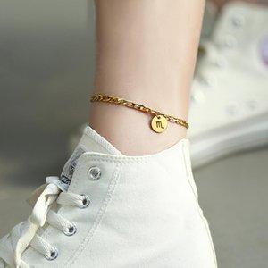 Constellations Anhänger Fuß Anklet Zodiac 8inch3inch 12 For Fashion Fußkettchen Frauen Charm Figaro Chain Link Extender DA42 bbyuKq bdehome