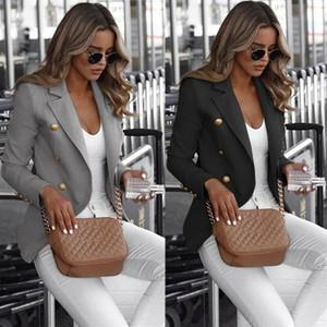 Mujeres Camiseta de manga larga delgada trabajo traje chaqueta formal, más Blazer resorte del otoño Solid Escudo Tamaño grande del color
