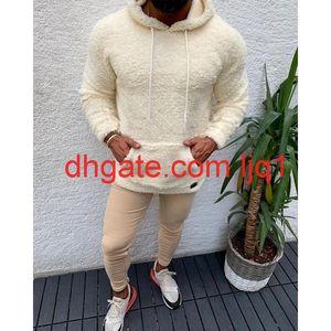 New Winter Hooded Sherpa Sweater Big Pocket Teddy Fleece Fluffy Pullovers Men's Plus Size Warm Fleece Tops Streetwear