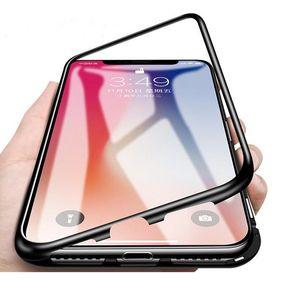 Confidentialité Boîtier métallique magnétique pour iPhone 12 11 Pro Max XS Max XR X 7 8 6S en verre trempé intégré étui de téléphone cellulaire