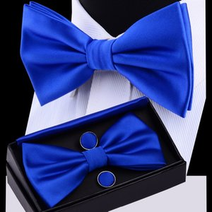 Mens Bow Tie Set Solid Double Fold Bow Ties Waterproof Plain Blue Bow Tie Hanky Cufflinks Gift Box For Men Wedding Gift