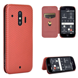NEW NEW For Fujitsu F-42A F-01L Carbon Fiber Texture Magnetic Horizontal Flip TPU PC PU Leather Case with Card Slot